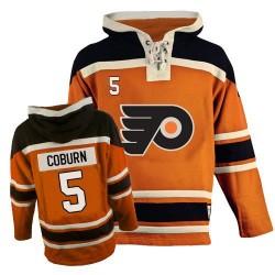 Philadelphia Flyers 5 Braydon Coburn Old Time Hockey Sawyer Hooded Sweatshirt Jersey - Orange Authentic