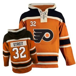 Philadelphia Flyers 32 Mark Streit Old Time Hockey Sawyer Hooded Sweatshirt Jersey - Orange Authentic
