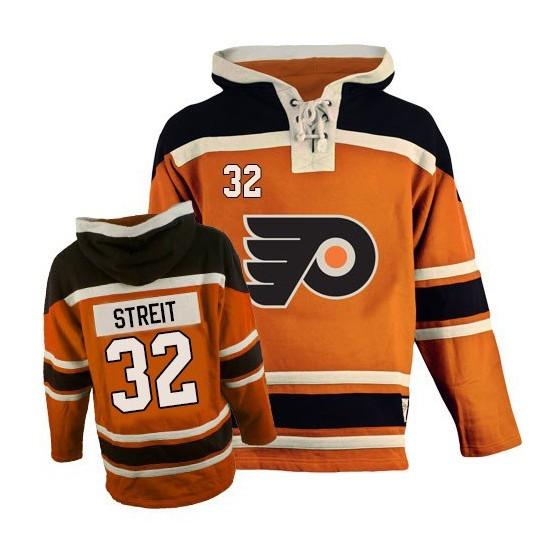 Philadelphia Flyers 32 Mark Streit Old Time Hockey Sawyer Hooded Sweatshirt Jersey - Orange Authentic