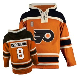 Philadelphia Flyers 8 Nicklas Grossmann Old Time Hockey Sawyer Hooded Sweatshirt Jersey - Orange Authentic