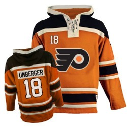 Philadelphia Flyers 18 R. J. Umberger Old Time Hockey Sawyer Hooded Sweatshirt Jersey - Orange Authentic