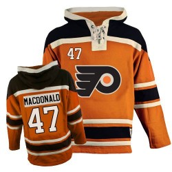 Philadelphia Flyers 47 Andrew MacDonald Old Time Hockey Sawyer Hooded Sweatshirt Jersey - Orange Authentic