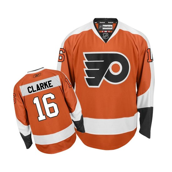 Reebok Philadelphia Flyers 16 Bobby Clarke Home Jersey - Orange Premier