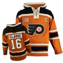 Philadelphia Flyers 16 Bobby Clarke Old Time Hockey Sawyer Hooded Sweatshirt Jersey - Orange Premier