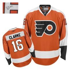 Reebok Philadelphia Flyers 16 Bobby Clarke Autographed Home Jersey - Orange Authentic