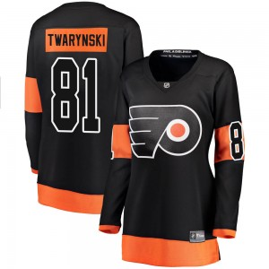 Women's Fanatics Branded Philadelphia Flyers Carsen Twarynski Alternate Jersey - Black Breakaway