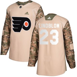 Youth Adidas Philadelphia Flyers Oskar Lindblom Veterans Day Practice Jersey - Camo Authentic