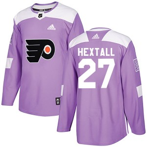 Adidas Philadelphia Flyers Ron Hextall Fights Cancer Practice Jersey - Purple Authentic