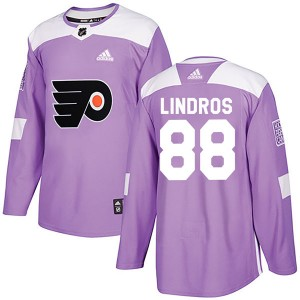 Adidas Philadelphia Flyers Eric Lindros Fights Cancer Practice Jersey - Purple Authentic