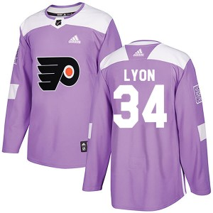 Youth Adidas Philadelphia Flyers Alex Lyon Fights Cancer Practice Jersey - Purple Authentic