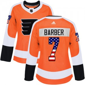 Women's Adidas Philadelphia Flyers Bill Barber USA Flag Fashion Jersey - Orange Authentic