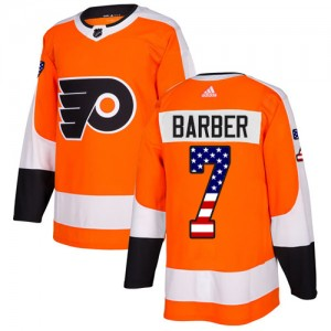 Youth Adidas Philadelphia Flyers Bill Barber USA Flag Fashion Jersey - Orange Authentic